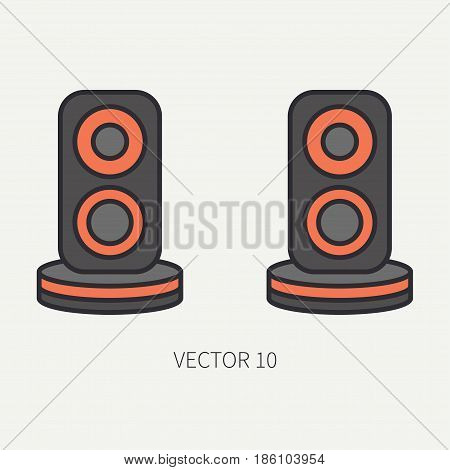 Line flat color vector computer part icon audio speakers. Cartoon. Digital gaming and business office pc desktop device. Innovation gadget. Sound loud. Illustration and element for design, wallpaper.