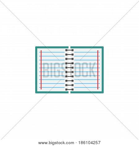 Notebook flat icon, Education and school element, diary note vector graphics, a colorful solid pattern on a white background, eps 10.