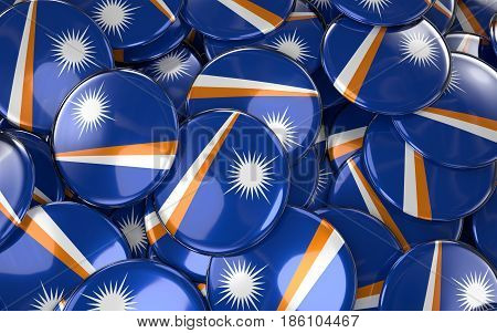 Marshall Islands Badges Background - Pile Of Marshall Islands Flag Buttons.