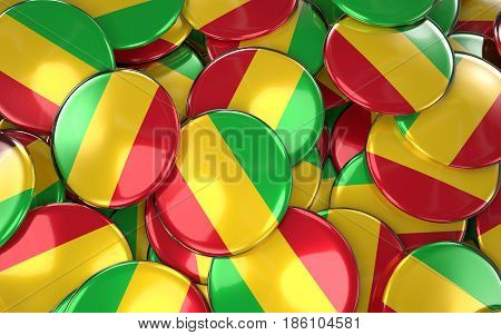 Mali Badges Background - Pile Of Malian Flag Buttons.