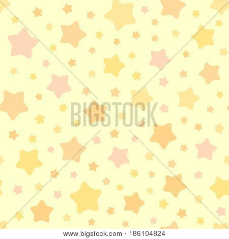Vector Stars Pattern. Seamless sky background. Pastel pink orange yellow colors. Cute decorative ornament for childrens bedroom wallpaper, pillow, furniture, textile print, pyjamas fabric.