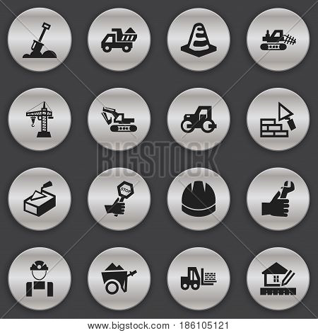 Set Of 16 Editable Building Icons. Includes Symbols Such As Home Scheduling, Endurance, Mule And More. Can Be Used For Web, Mobile, UI And Infographic Design.