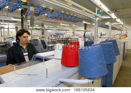 Man Working At Hugo Boss Industry At Coldrerio
