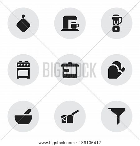 Set Of 9 Editable Cooking Icons. Includes Symbols Such As Pot-Holder, Kitchen Glove, Drink Maker And More. Can Be Used For Web, Mobile, UI And Infographic Design.