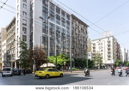 ATHENS, GREECE - May 3, 2017: Street view of  modern buildings in Athens.
