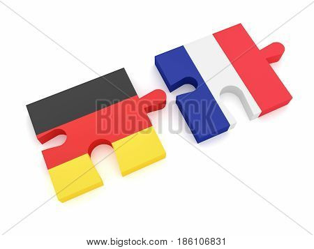 Germany France Partnership: German Flag And French Flag Puzzle Pieces 3d illustration on white background