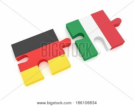 Germany Italy Partnership: German Flag And Italian Flag Puzzle Pieces 3d illustration on white background