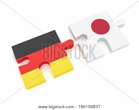 Germany Japan Partnership: German Flag And Japanese Flag Puzzle Pieces 3d illustration on white background