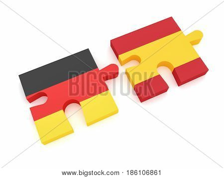 Germany Spain Partnership: German Flag And Spanish Flag Puzzle Pieces 3d illustration on white background