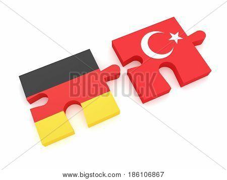 Germany Turkey Partnership: German Flag And Turkish Flag Puzzle Pieces 3d illustration on white background