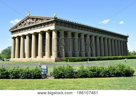 Historic replica of the Parthenon at Centennial Park Nashville, Tennesee