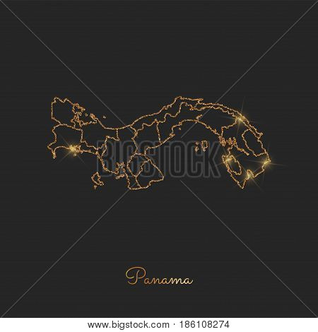 Panama Region Map: Golden Glitter Outline With Sparkling Stars On Dark Background. Detailed Map Of P