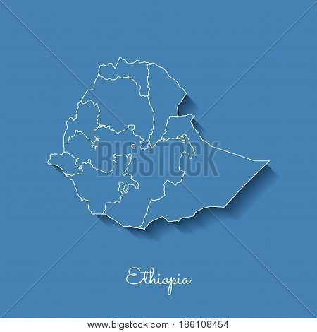 Ethiopia Region Map: Blue With White Outline And Shadow On Blue Background. Detailed Map Of Ethiopia