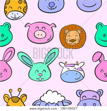 Collection stock animal head various doodles vector art