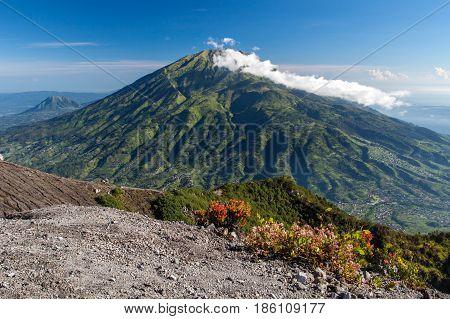 Green Mt. Merbabu. View From Merapi Volcano.
