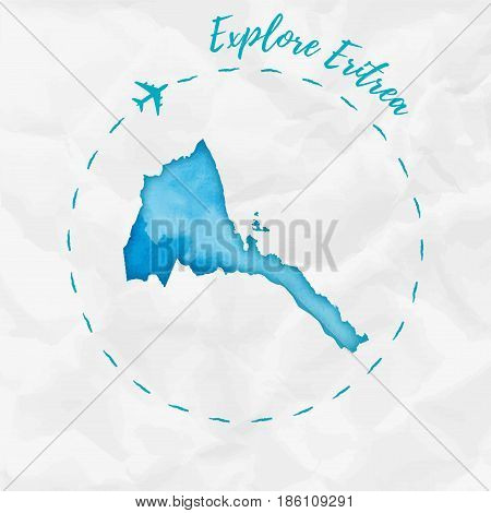 Eritrea Watercolor Map In Turquoise Colors. Explore Eritrea Poster With Airplane Trace And Handpaint