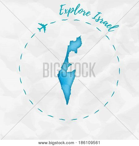 Israel Watercolor Map In Turquoise Colors. Explore Israel Poster With Airplane Trace And Handpainted