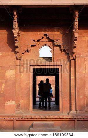 AGRA, INDIA - FEBRUARY 14: Unique architectural details of Red Fort, Agra, UNESCO World heritage site, India on February 14, 2016.