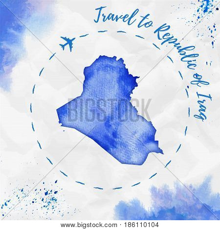 Republic Of Iraq Watercolor Map In Blue Colors. Travel To Republic Of Iraq Poster With Airplane Trac