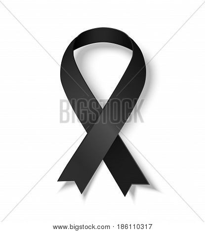 Black awareness ribbon. Symbol of Melanoma. Vector illustrarion of black ribbon with shadow isolated on white background