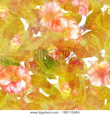 A seamless background pattern with beautiful pink watercolor camellia flowers with leaves and butterflies, golden toned