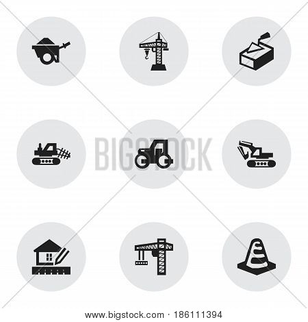 Set Of 9 Editable Structure Icons. Includes Symbols Such As Notice Object, Home Scheduling, Mule And More. Can Be Used For Web, Mobile, UI And Infographic Design.