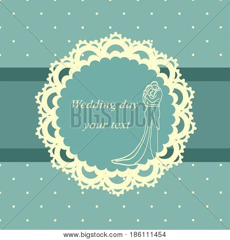 Invitation card with the bride and groom in vintage style. Bride and groom. Wedding invitation. Vector illustration.