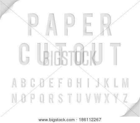 Bent paper cutout template font alphabet vector illustration