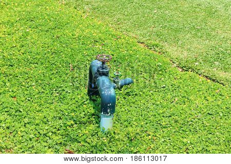 Water valve in the grass field, garden