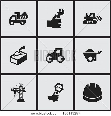 Set Of 9 Editable Building Icons. Includes Symbols Such As Elevator, Mule, Trolley And More. Can Be Used For Web, Mobile, UI And Infographic Design.