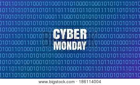 Cyber Monday Abstract Technology Background. Binary Computer Code. Sale concept. Vector Illustration.