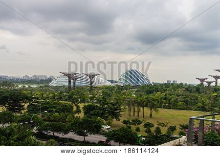 Singapore. Gardens by the Bay. View From Bridge Spanning 101 hectares of reclaimed land in central Singapore adjacent to the Marina Reservoir.