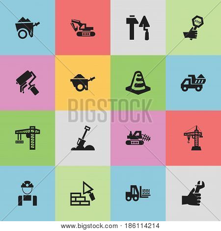 Set Of 16 Editable Building Icons. Includes Symbols Such As Hands , Mule, Scrub. Can Be Used For Web, Mobile, UI And Infographic Design.