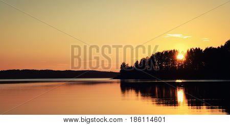 Sunset. Kenozero Lake. Wide Photo. Russian North.