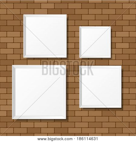 Blank white posters on the brick wall. Blank canvases. Realistic mockup. Vector Illustration.