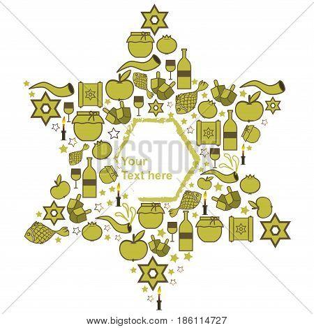 Symbols of Jewish holidays in light green soft tones. Vector illustration