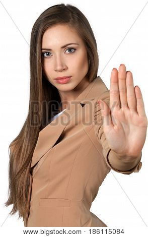 Portrait of a Businesswoman Showing Hand / Stop Gesture