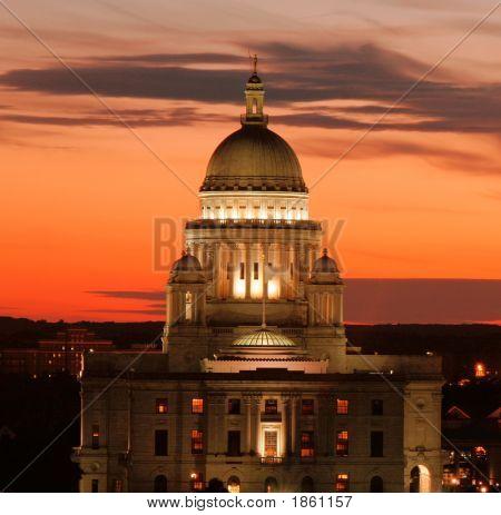 Ri State House At Sunset