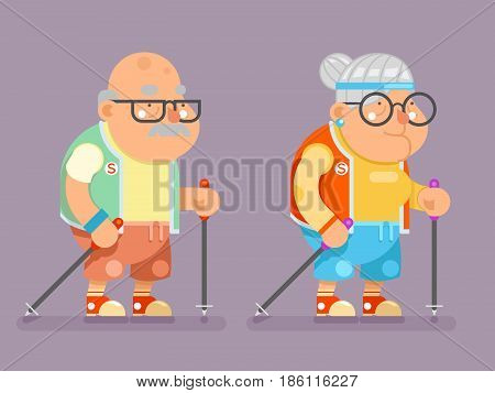 Sports Healthy Grandfather Granny Active Lifestyle Age Nordic Finland Walking Stick Old Man Lady Cartoon Character Flat Design Vector illustration