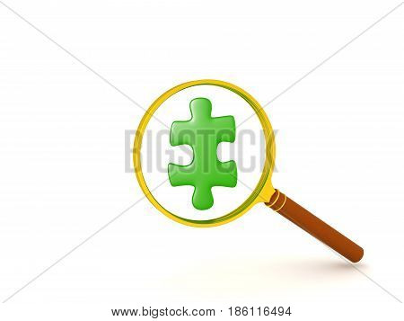 3D illustration of green jigsaw puzzle piece held in front of magnifying glass. The piece is shiny.