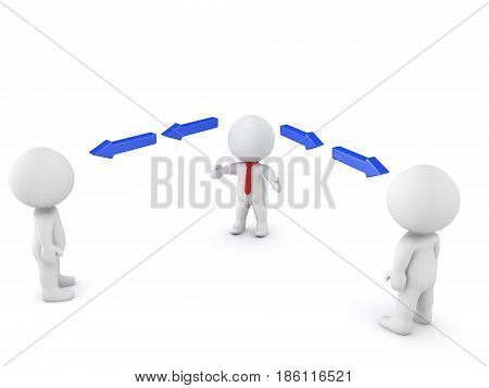 3D illustration depicting a manager leading a team. Image can be used in any leadership context.