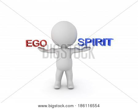 3D Character balacing ego and spirit. Image can be used when trying to convey a spirtiual concept.