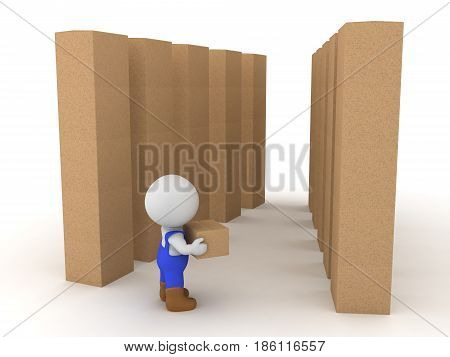 3D Character dressed as blue collar worker carrying box in a wharehouse. Image depicting working class job.