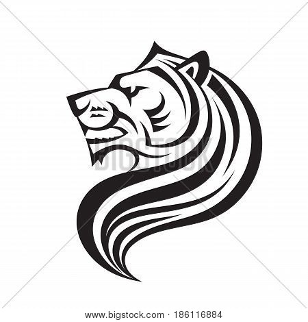 Lion head in profile view - vector logo template creative illustration. Animal wild cat face graphic sign. Pride, strong, power concept symbol. Black & white line art. Design element.
