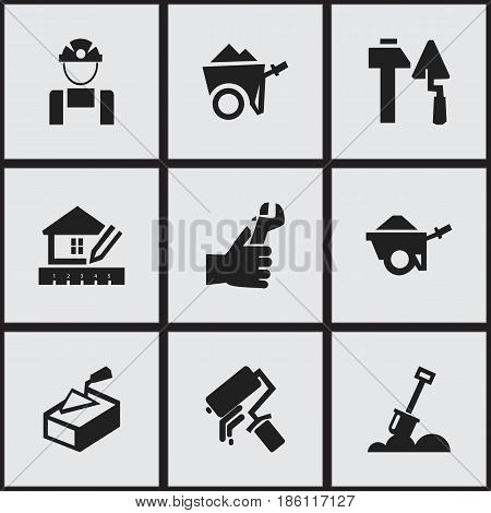 Set Of 9 Editable Building Icons. Includes Symbols Such As Oar , Handcart , Scrub. Can Be Used For Web, Mobile, UI And Infographic Design.