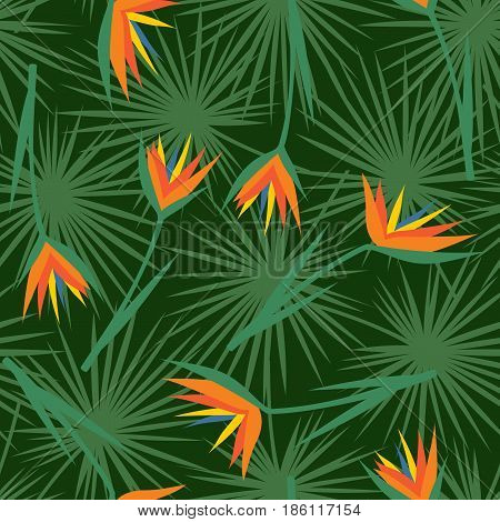 Tropical flowers with leaves seamless pattern. Green palm leaves background with exotic flowers. Jungle illustration. Summer fashion print. Cute design for textile, wallpaper, fabric.