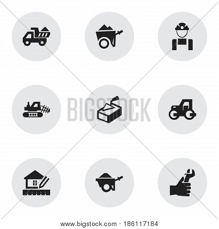 Set Of 9 Editable Building Icons. Includes Symbols Such As Handcart , Spatula , Employee. Can Be Used For Web, Mobile, UI And Infographic Design.
