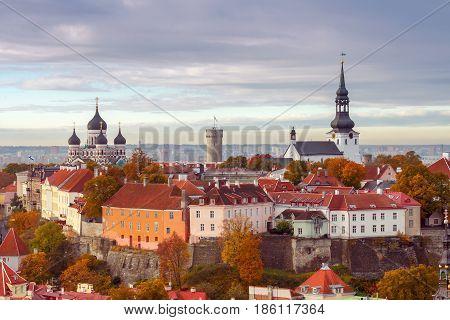 Tallinn, Estonia. View of the upper city on the hill Toompea.