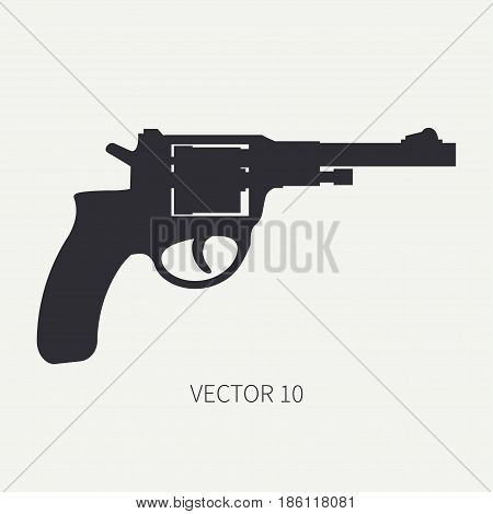 Silhouette. Line flat vector military icon - revolver, pistol. Army equipment and armament. Legendary retro weapon. Cartoon. Assault. Soldier. Slug. Illustration and element for design and wallpaper.