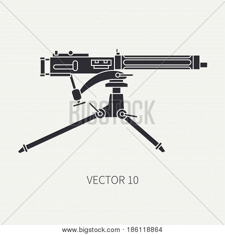 Silhouette. Line flat vector military icon - machine gun. Army equipment and armament. Legendary retro weapon. Cartoon. Assault. Soldiers. Slug. War. Illustration and element for design and wallpaper.